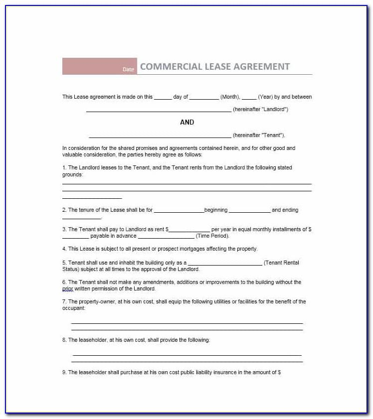 Commercial Lease Agreement Template Free Queensland