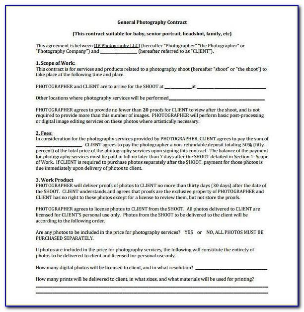 Commercial Or Stock Photography Contract Template