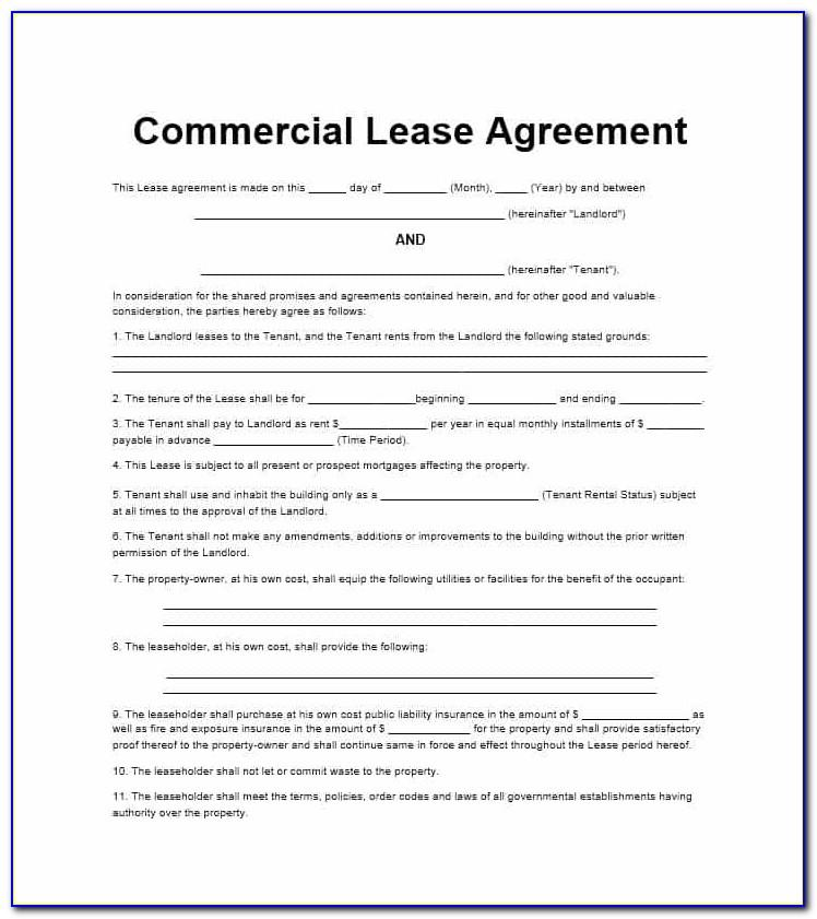 Commercial Rental Agreement Template Free