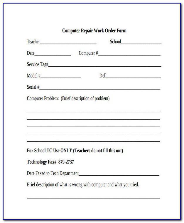 Computer Repair Work Order Form Template
