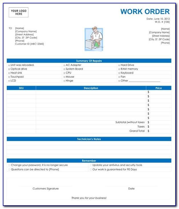 Computer Repair Work Order Forms