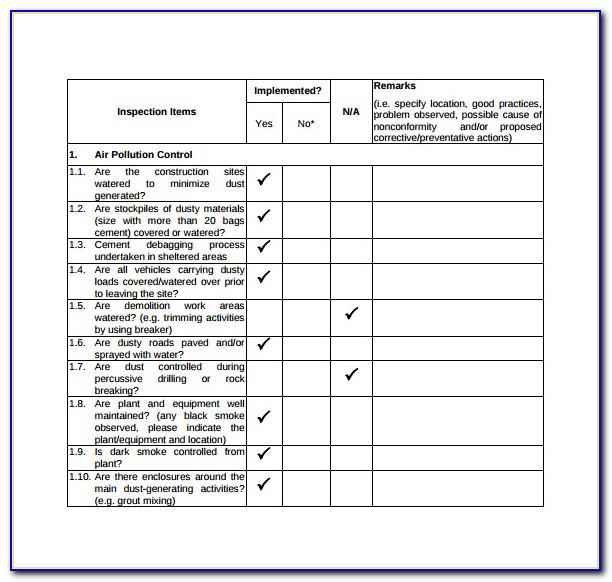 Construction Site Inspection Checklist Template