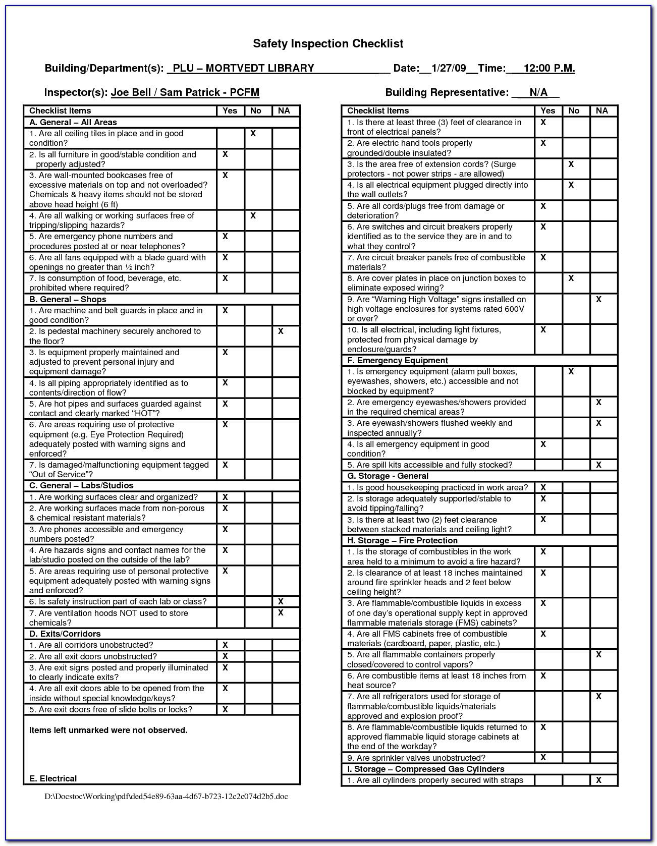 Construction Workplace Inspection Checklist Template
