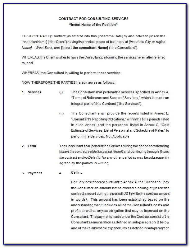 Consultancy Agreement Template Word