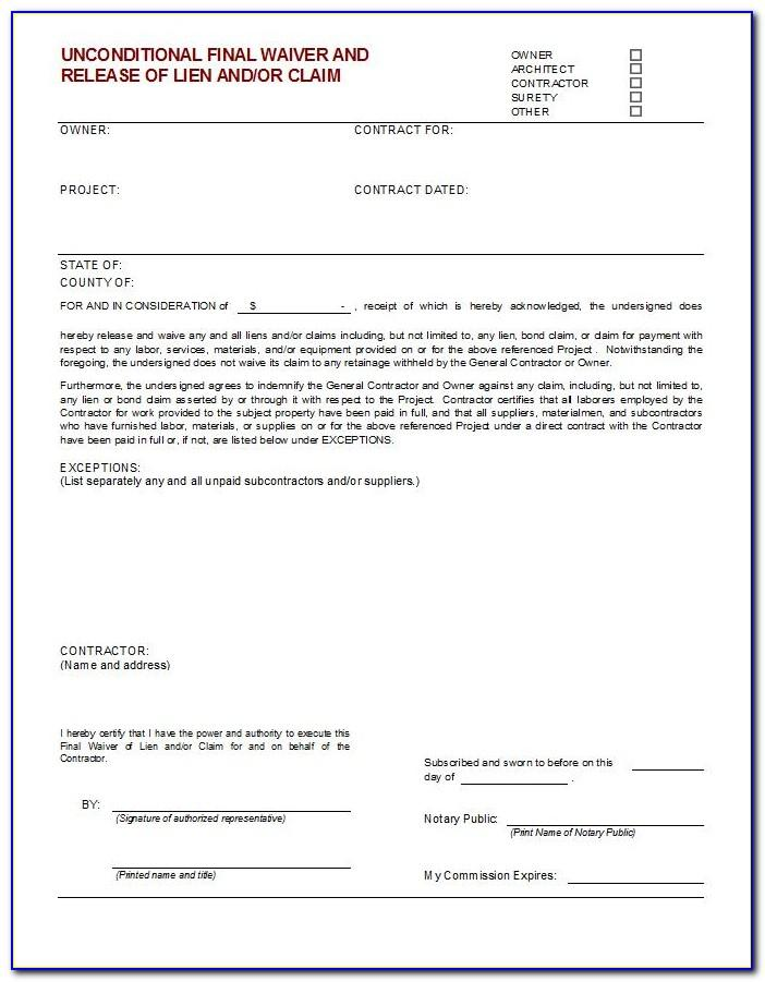 Contractor Final Waiver Of Lien Form Illinois