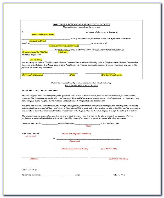 Contractor Final Waiver Of Lien Form
