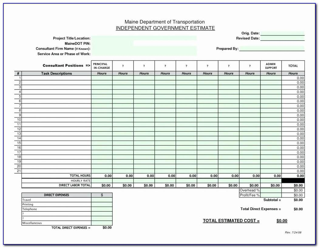 Cost Estimating Spreadsheet Template