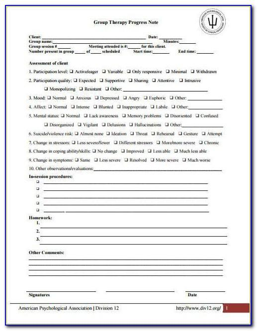 Couples Therapy Progress Note Template