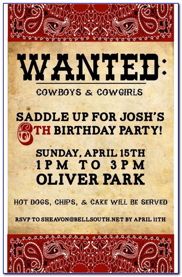 Cowboy Boot Invitation Templates
