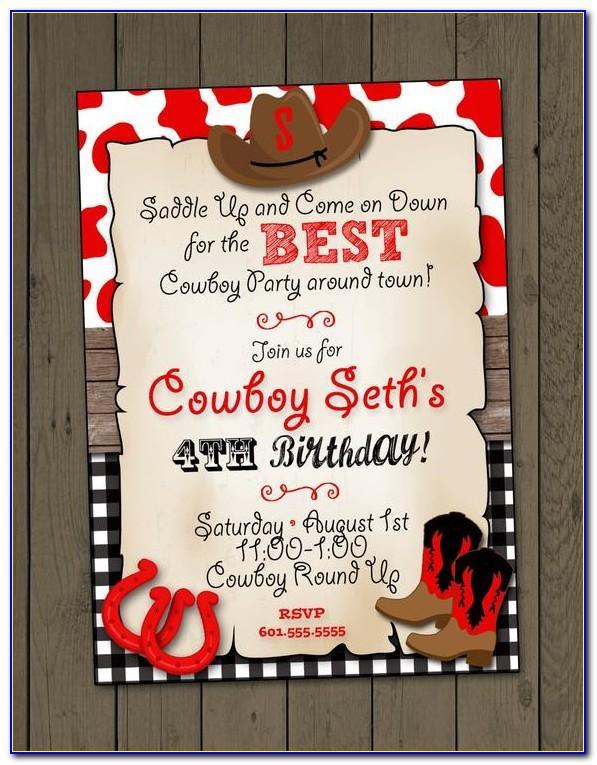 Cowboy Party Invitation Templates Free