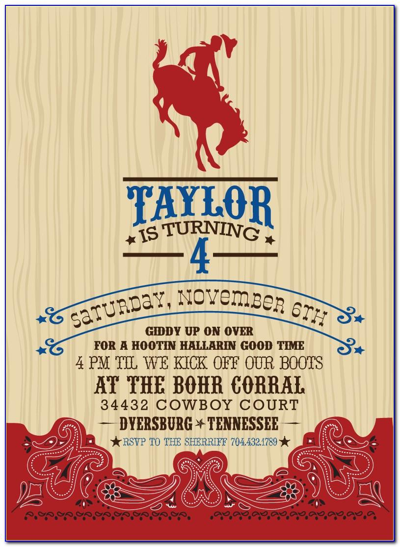 Cowboy Themed Invitation Template