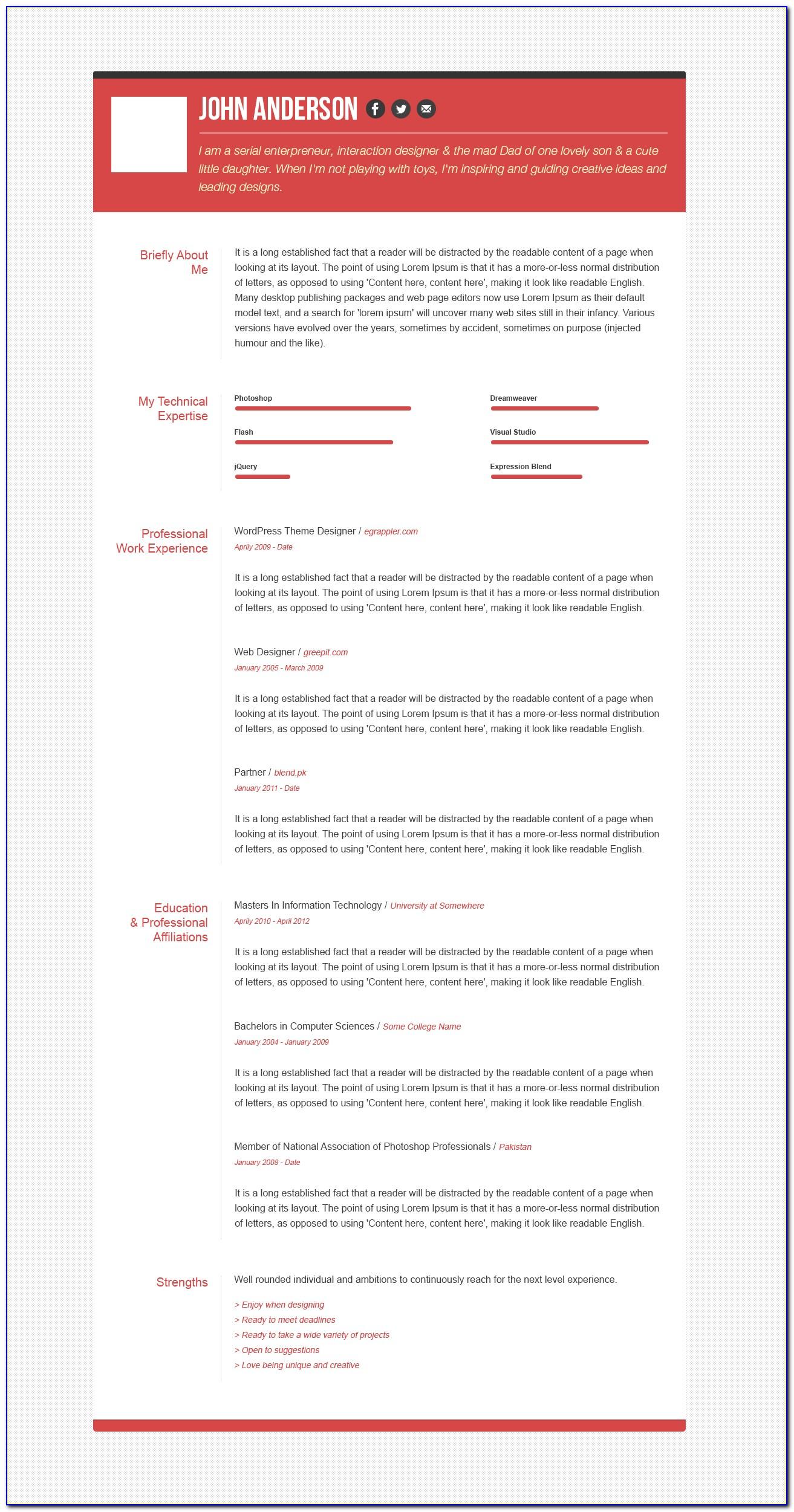 Curriculum Vitae Creative Template Free