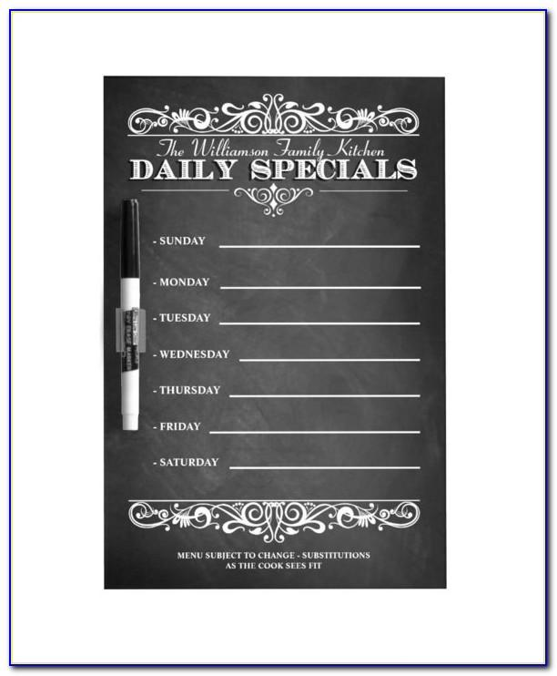 Daily Specials Menu Template Free