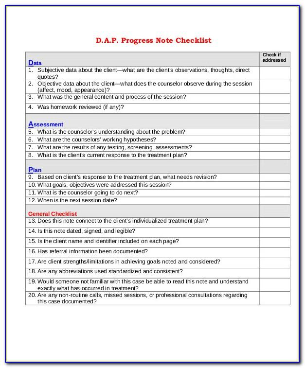 Dap Progress Notes Template