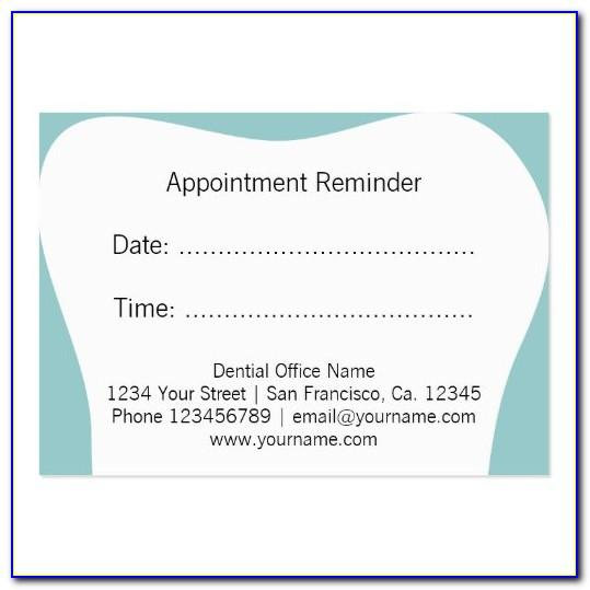 Dental Appointment Cards Templates