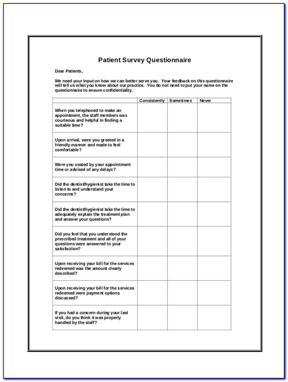 Dental Patient Satisfaction Survey Form