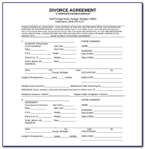 Divorce Agreement Template California