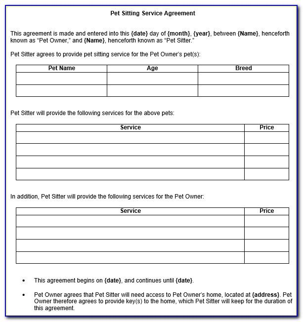 Dog Boarding Contract Template Uk