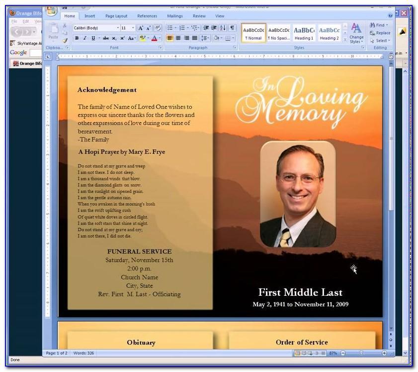 Download Free Editable Funeral Program Template