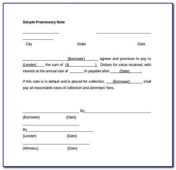 Easy Promissory Note Template
