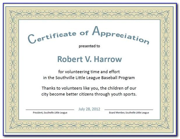 Editable Template For Certificate Of Appreciation