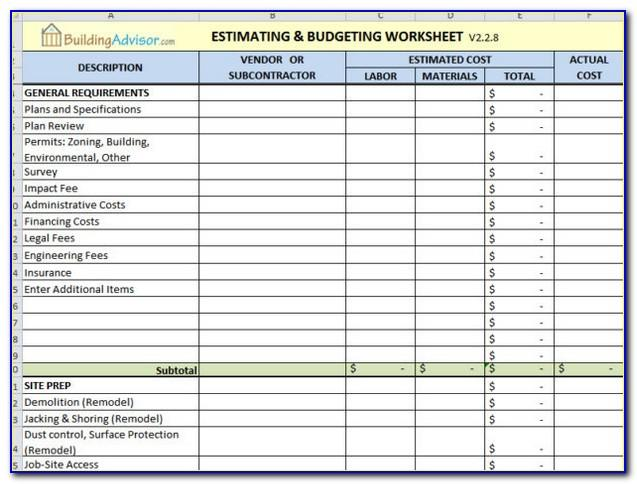 Electrical Estimating Spreadsheet Template