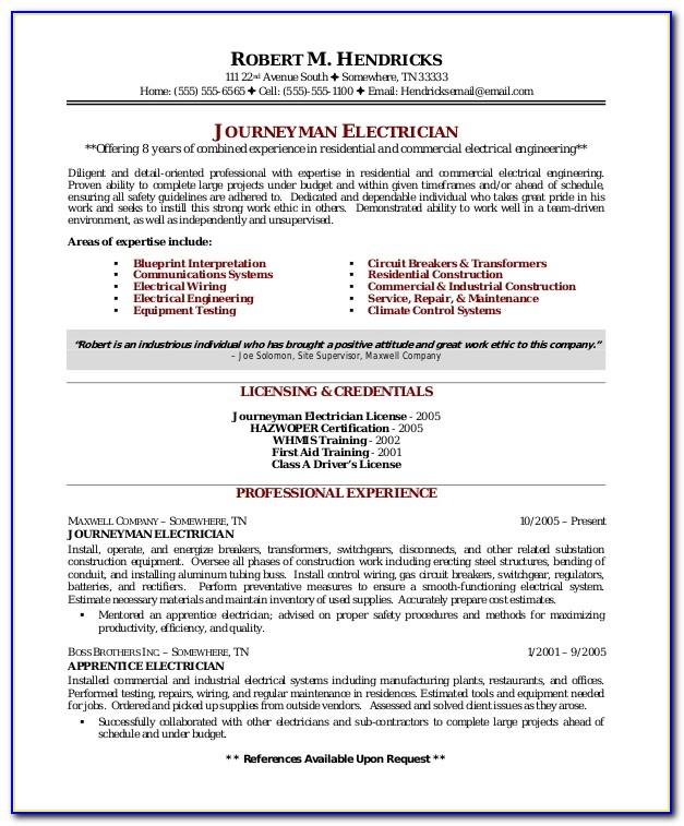 Electrician Resume Templates Download