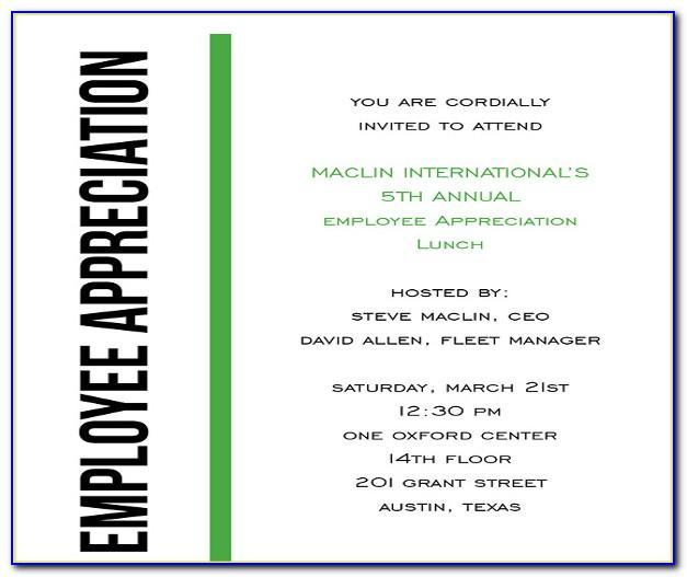 Employee Appreciation Day Invitation Templates