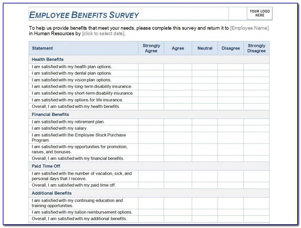 Employee Benefits Survey Template Word