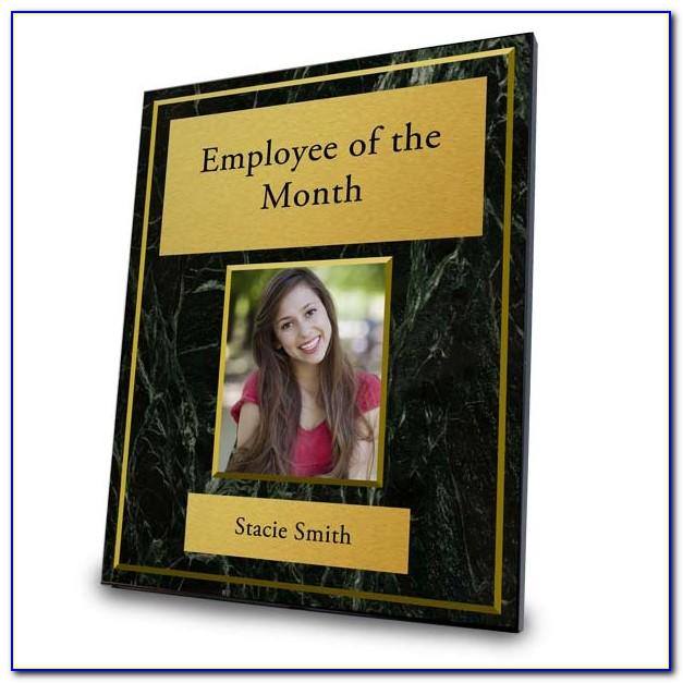 Employee Of The Month Plaque Template