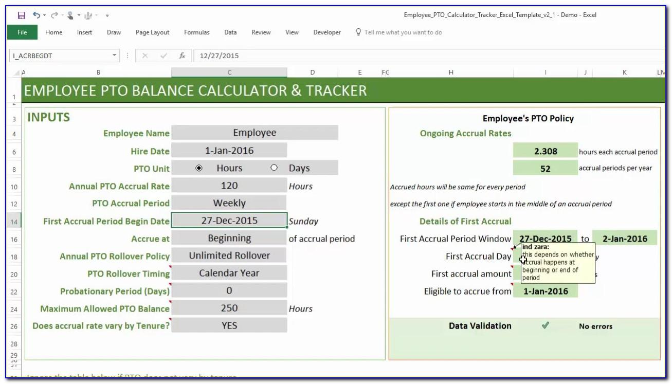 Employee Pto Tracker Excel Template Format