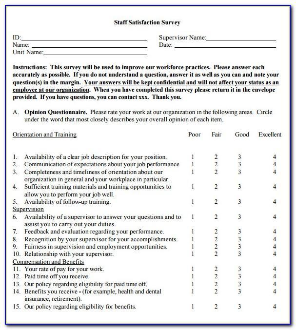 Employee Survey Template Pdf