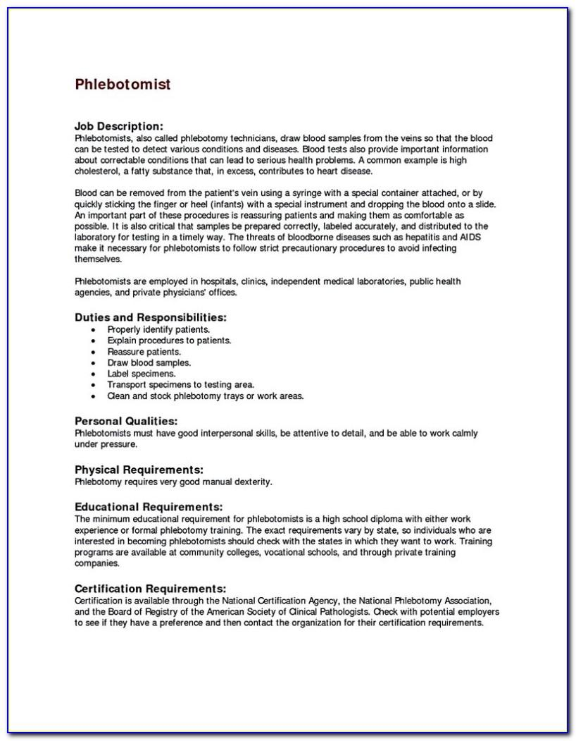 Entry Level Phlebotomy Resume Templates