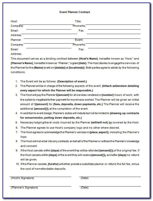 Event Planner Contract Agreement Template
