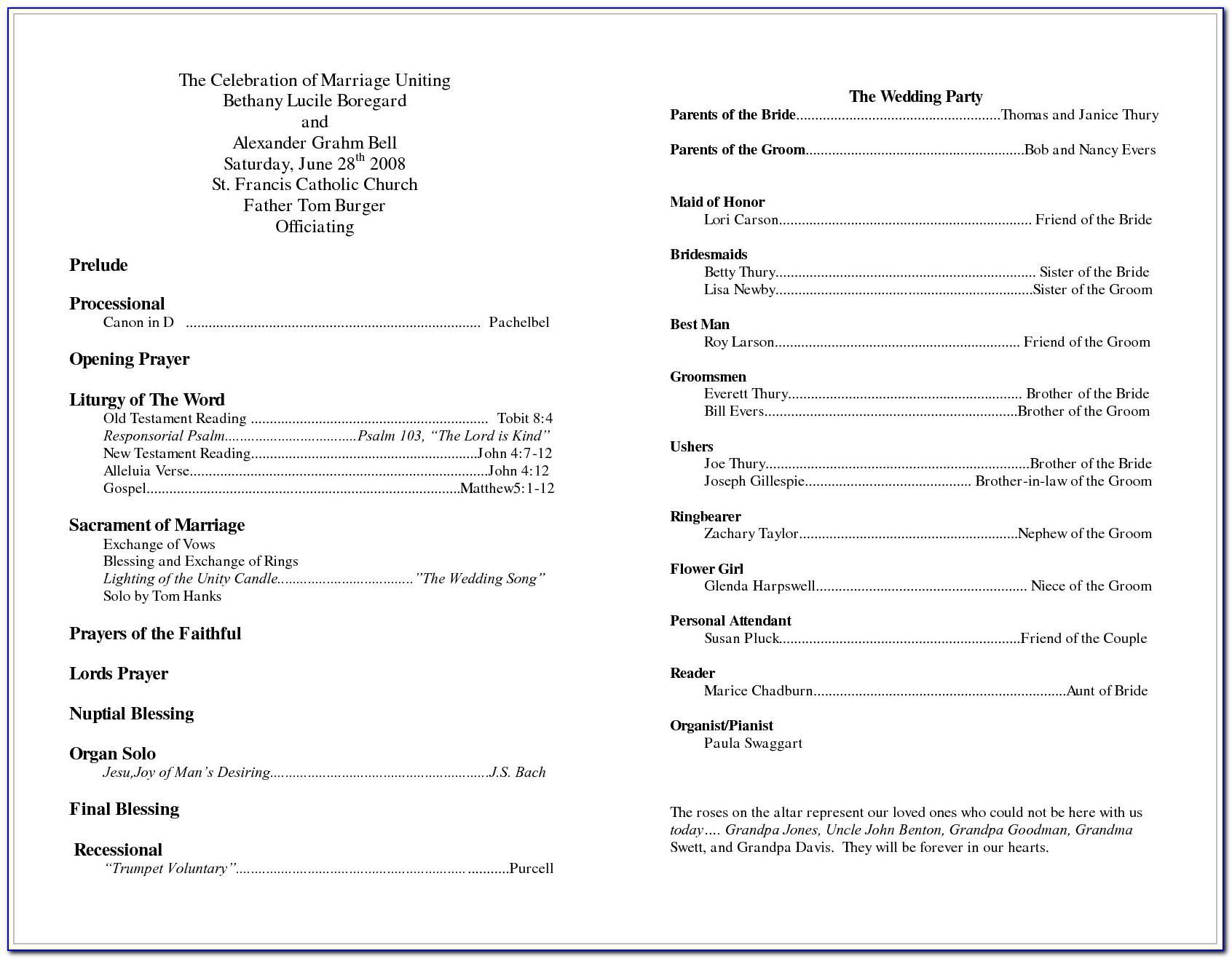 Example Catholic Wedding Program
