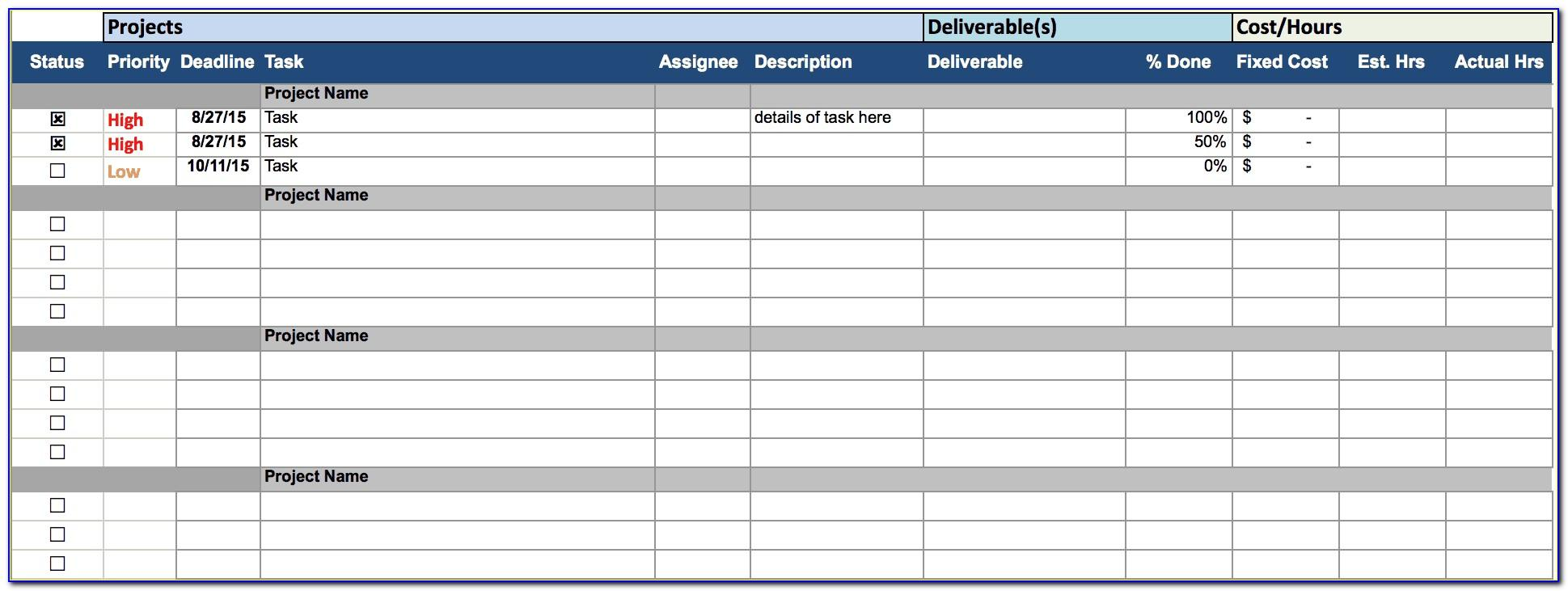 Excel Sheet Template For Task Tracking