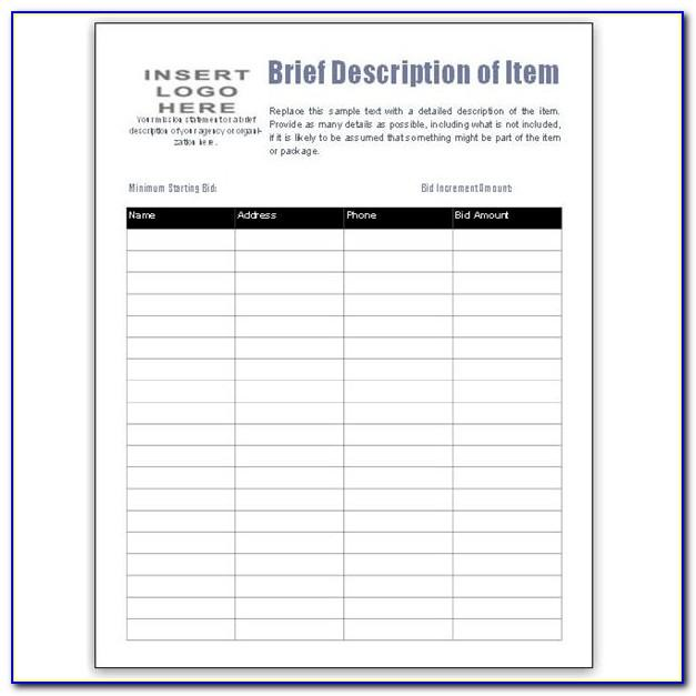 Excel Silent Auction Template