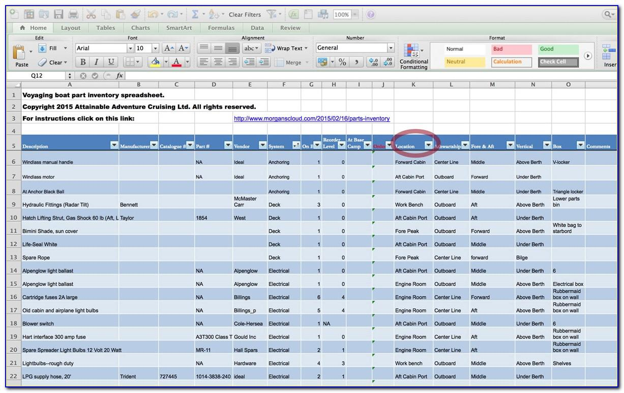 Excel Spare Parts Inventory Template