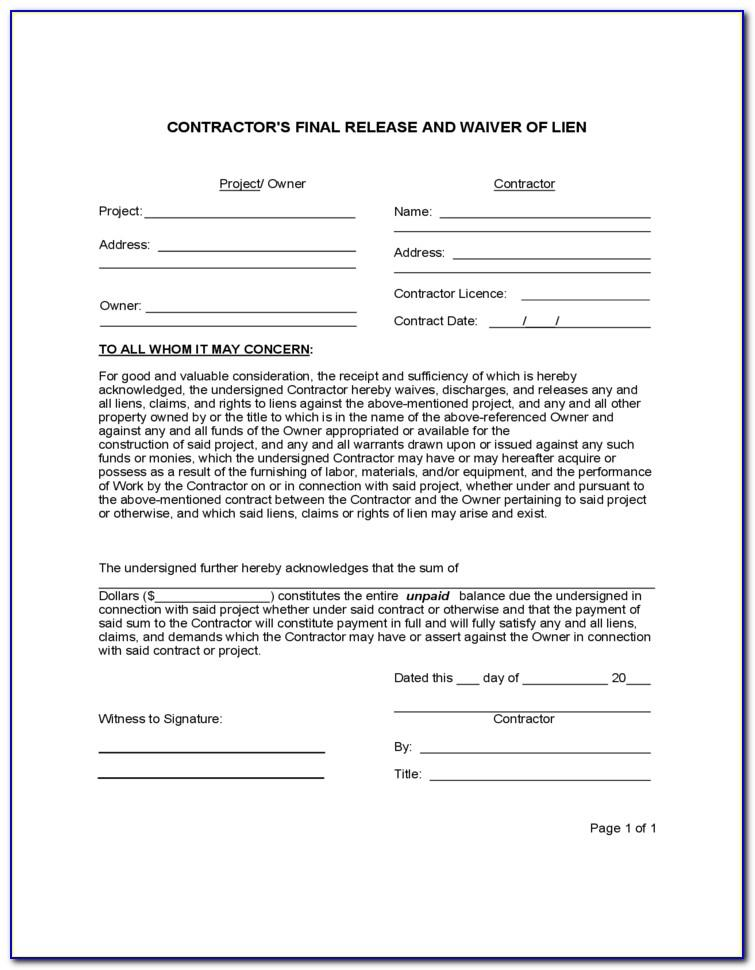 Final Waiver Of Lien Form Illinois Pdf