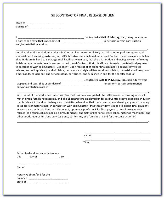Final Waiver Of Lien Illinois Template