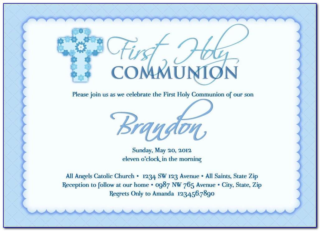 First Communion Invitation Card Template