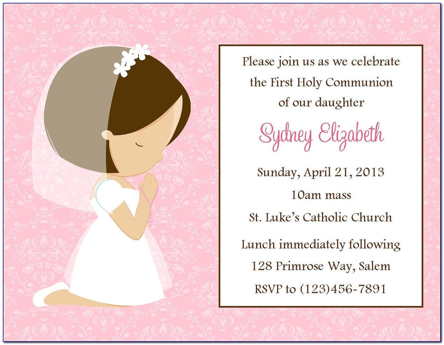 First Holy Communion Invitation Card Template