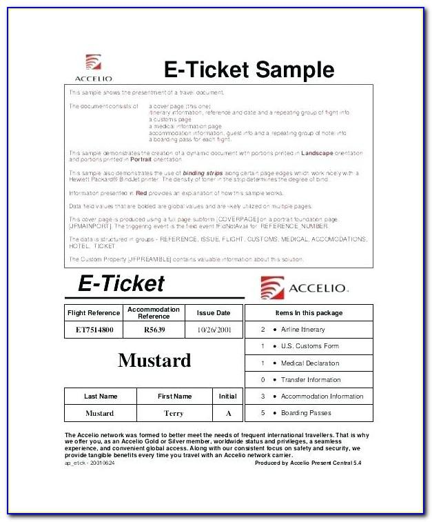 Flight Ticket Invitation Template Free