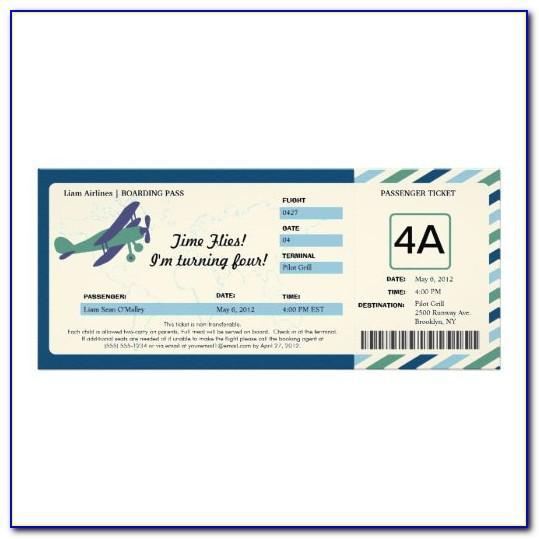 Flight Ticket Wedding Invitation Template