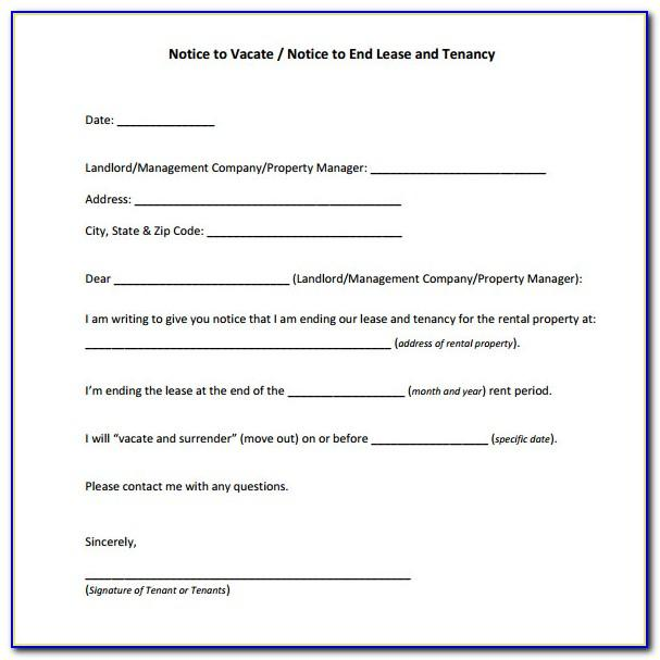 Free 30 Day Notice To Vacate Template