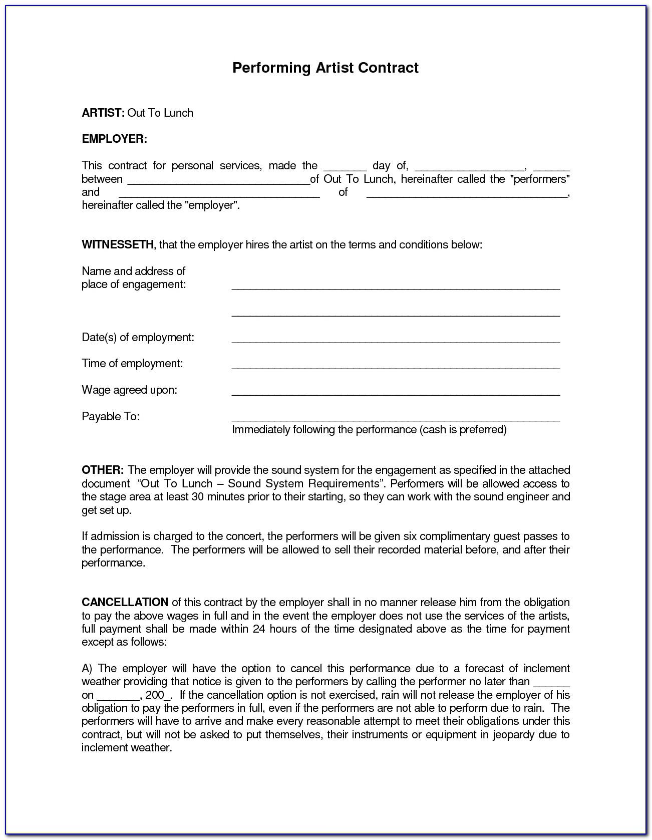 Free Band Performance Contract Template