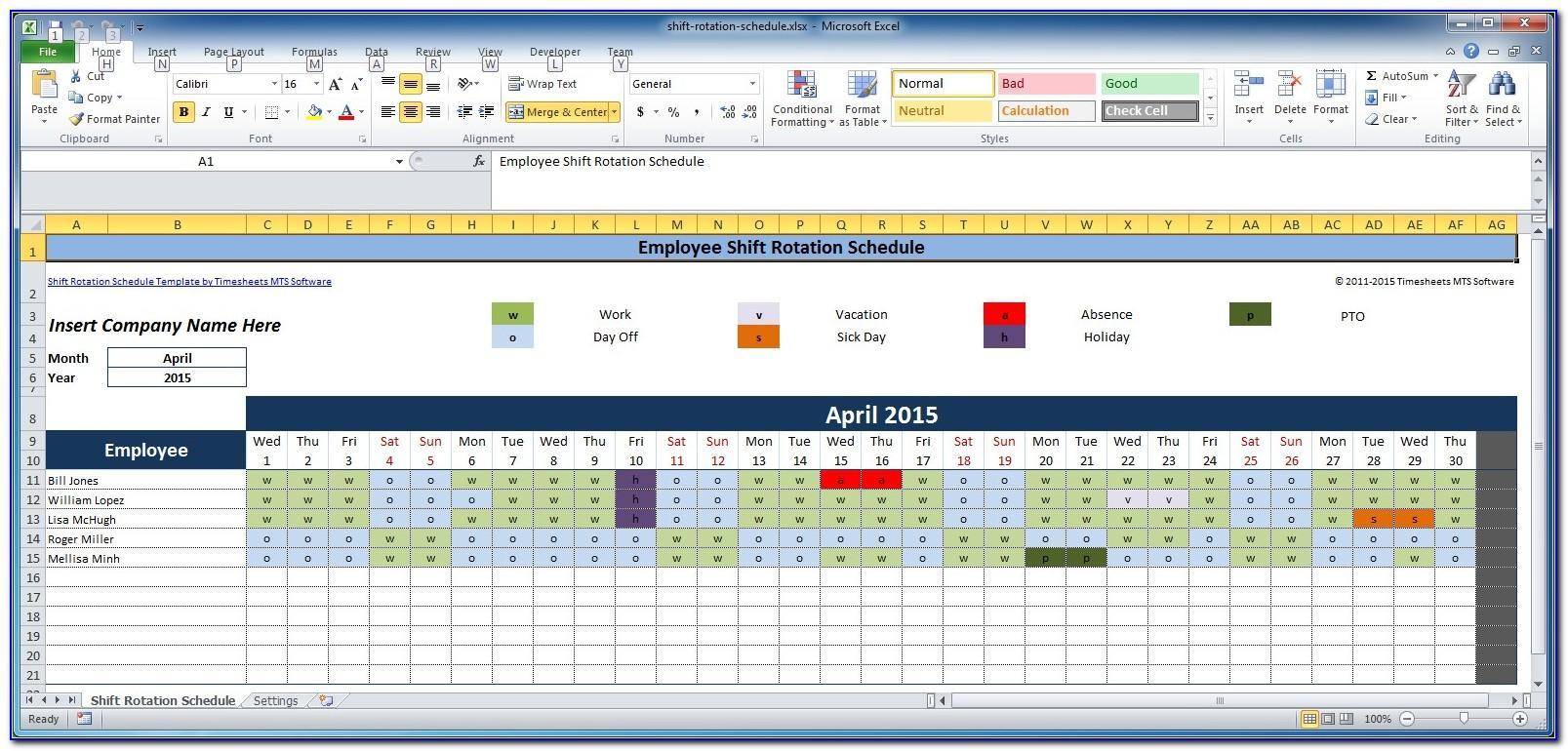 Free Bi Weekly Employee Schedule Template