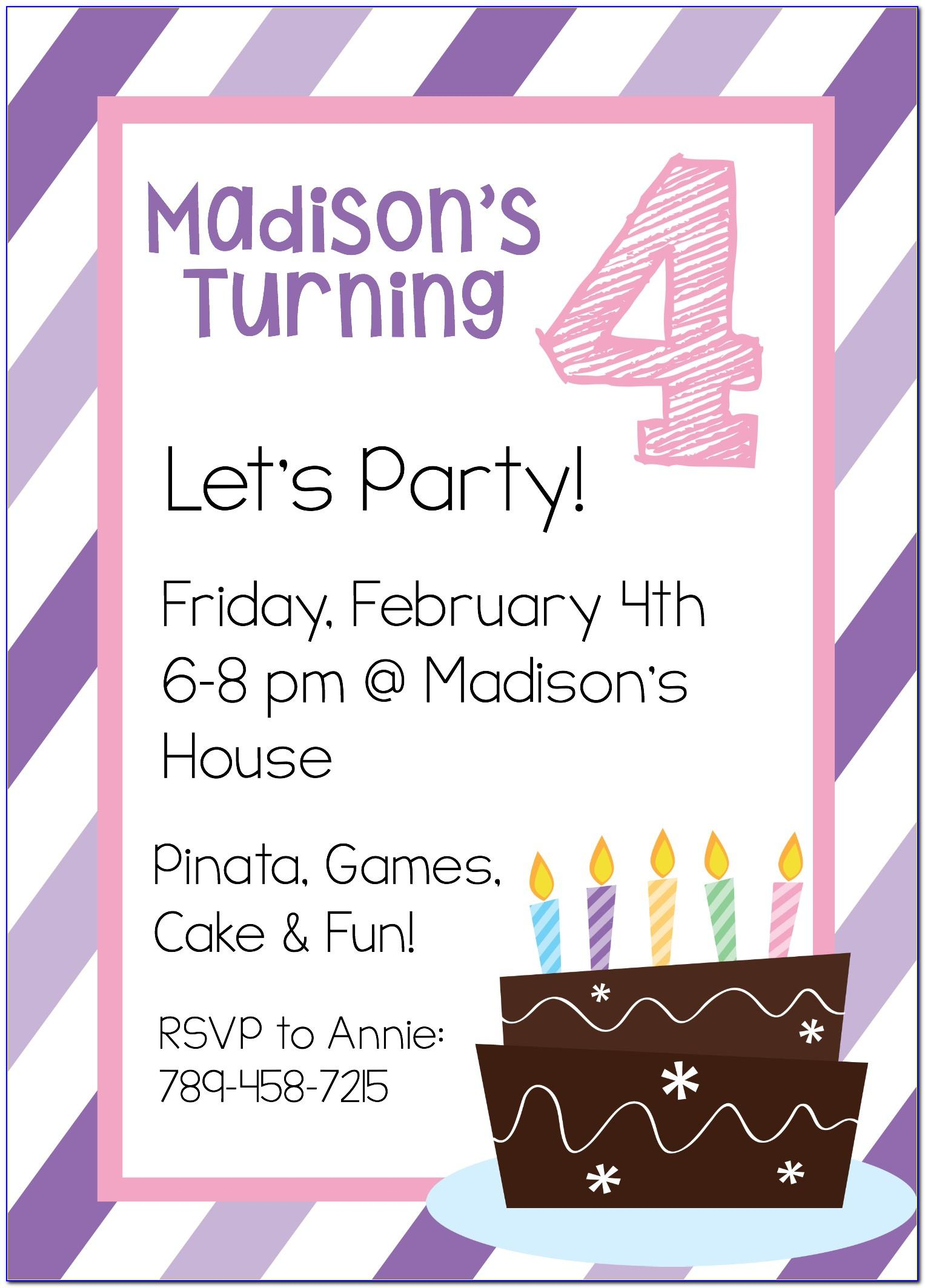 Free Birthday Invitations Templates Printable
