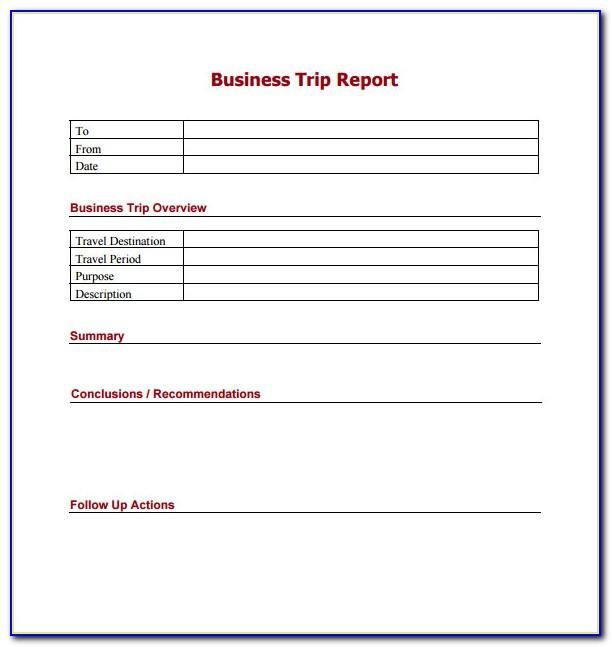 Free Business Trip Report Template Word