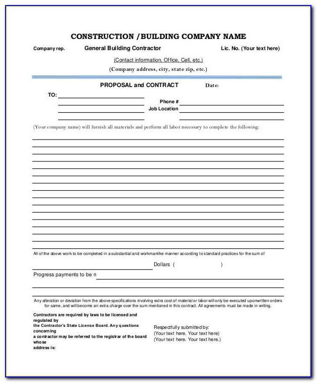 Free Construction Bid Sheet Template